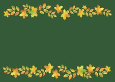Autumn leaves border on a dark green background Stock Image