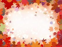 Autumn leaves border for your text. EPS 8 Stock Photo