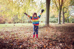 Autumn leaves. Boy playing with autumn leaves in the park Royalty Free Stock Image