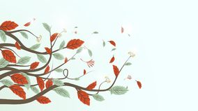 Autumn leaves branch background. Freehand drawing style. Illustration vector vector illustration