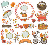 Autumn leaves ,branches.Plant harvest decorations. Autumn elements.Colored Leaves ,tree branches,bike,ribbons and labels,badges shapes,umbrella, backet with royalty free illustration