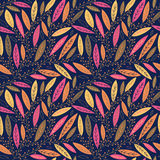 Autumn leaves on branches seamless pattern Royalty Free Stock Photo