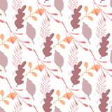 Autumn leaves and branches vector seamless pattern on white background royalty free illustration