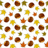 Autumn Leaves Chestnuts Seamless Pattern Royalty Free Stock Photo