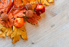 Autumn Leaves and Chinese Lanterns on Wood Surface Royalty Free Stock Images