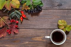 Image with autumn leaves. Autumn leaves and coffee on a wooden background. Copy paste Royalty Free Stock Photo