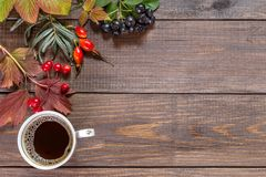 Image with autumn leaves. Autumn leaves and coffee on a wooden background. Copy paste Royalty Free Stock Photos