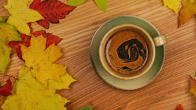 Autumn Leaves with Coffee. stock video