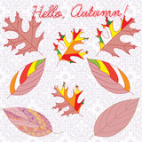 Autumn leaves with colorful ornaments and inscription lettering. Hello Autumn, vector illustration stock illustration