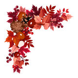 Autumn leaves corner frame. Royalty Free Stock Photo