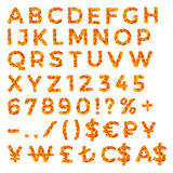 Autumn Leaves Discount Alphabet y números ilustración del vector