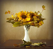 Autumn leaves and dried sunflowers Stock Image