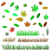 Autumn Leaves e Autumn Grass Imagens de Stock Royalty Free
