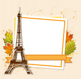 Autumn leaves and Eiffel Tower Royalty Free Stock Photo