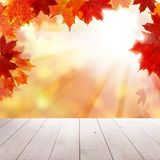 Autumn Leaves, Empty Grunge Wooden Board Royalty Free Stock Photo