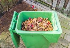 Autumn Leaves en cubo de la basura en patio trasero Fotos de archivo