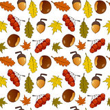 Autumn Leaves Fall Fruits Seamless Pattern Stock Photo