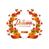 Autumn Leaves Fall Guirlande de laurier calibre d'offre de vente Illustration illustration de vecteur