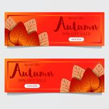 Autumn leaves fall with red orange background. sale offer template. poster template. banner template. vector illustration. Autumn leaves fall. sale offer vector illustration