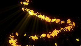 Spin of autumn leaves. Autumn leaves background. CG ginkgo confetti animation. Japanese culture. Abstract background. Autumn leaves falling. Natural animation vector illustration