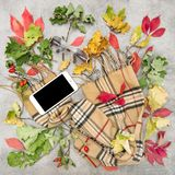 Autumn leaves fashion accessories Flat lay social media. Autumn leaves and fashion accessories. Flat lay. Background for feminine website, bloggers, social media Stock Photo