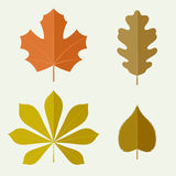 Autumn leaves in flat style Royalty Free Stock Photos