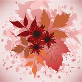Autumn leaves and flowers vector illustration