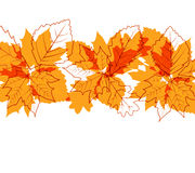 Autumn leaves. Flying autumn leaves background with space for text royalty free illustration