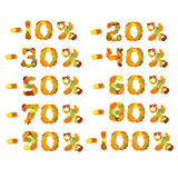 Autumn Leaves font discount numbers. Vector illustration. Autumn Leaves font. Vector illustration isolated on white background Stock Photo