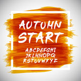 Autumn Leaves font. Vector illustration. Art Royalty Free Stock Images
