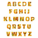 Autumn Leaves font. Vector illustration. Royalty Free Stock Photo