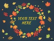 Autumn Leaves Frame Éléments merveilleux et cadre décoratif Photo stock