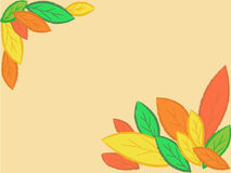 Autumn leaves frame. Frame made of differen colours leaves on a beige background Royalty Free Stock Image