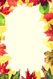 Autumn leaves frame. Real leaves forming a frame. Retro vintage style photo Royalty Free Stock Photo