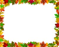 Autumn Leaves Frame. A beautiful illustrated frame made of colorful autumn leaves Stock Photos