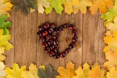 Autumn leaves frame and chestnuts heart Royalty Free Stock Photography