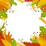 Autumn leaves frame in hand drawn style. royalty free illustration