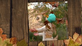 Autumn leaves frame and screen showing girl playing with autumn leaves. In the forest 4k stock video