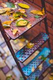 Autumn leaves on the garden metal ladder. Autumn background royalty free stock image