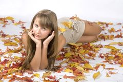 Autumn leaves girl Stock Photo