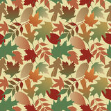 Autumn Leaves Gradient_Yellow. Seamless pattern of Autumn leaves. This is a 4-tile repeat of the pattern at 12.625 square Stock Photo