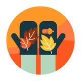 Autumn leaves on hand. Autumn scenery and activity. .flat icon design. illustration vector stock illustration