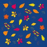 AUTUMN LEAVES hand drawn set royalty free illustration