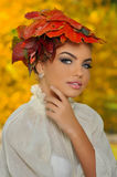 AUTUMN LEAVES. A LEAVES HAT FOR AUTUMN TIME stock photo