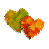 Autumn leaves heart. Frame with colorful leaves. Royalty Free Stock Images