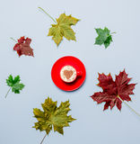 Autumn leaves and heart shape cappuccino Stock Images