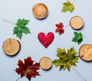 Autumn leaves and heart shape gift Stock Photography