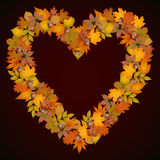 Autumn leaves heart shaped background Stock Images