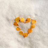 Autumn leaves heart sign on the snow Royalty Free Stock Photos