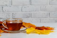 Autumn leaves, hot steaming cup of tea on wooden background Royalty Free Stock Photos